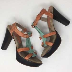 Anthropologie Biviel Shoes Heels Green Coral 41